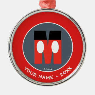 M is for Mickey | Add Your Name Metal Ornament
