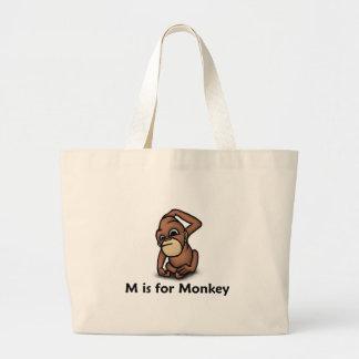 M is for Monkey Jumbo Tote Bag