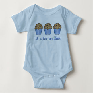 M is for Muffins Blueberry Muffin Baked Goods ABCs Baby Bodysuit