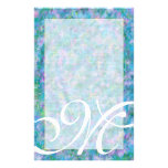 "M Monogram ""Blue Garden"" Fine Lined Stationery Design"