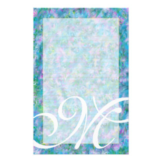 "M Monogram ""Blue Garden"" Fine Lined Stationery"