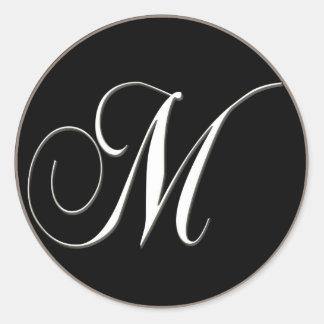 M monogram - elegant black and white classic round sticker