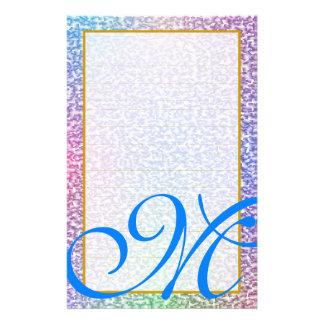 "M Monogram ""Metallic White"" Fine Lined Stationery"