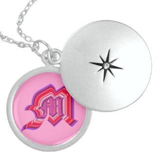 M monogram Sterling Silver Round Locket Necklace
