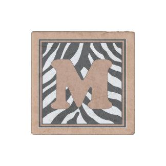 M-Zebra Skin Monogram Stone Magnet