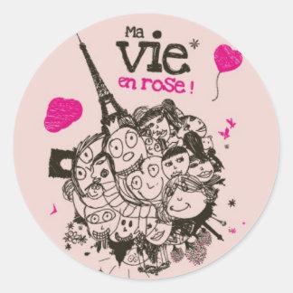 Ma Vie en Rose Classic Round Sticker