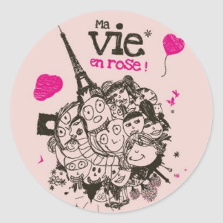 Ma Vie en Rose Round Sticker