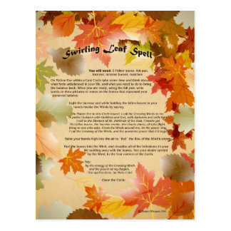 Mabon Swirling Leaf Spell Postcard