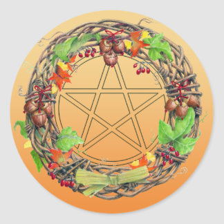Mabon Wreath Classic Round Sticker