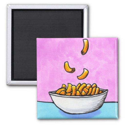 Mac and cheese fun colorful original tiny art fridge magnet