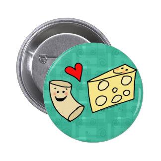 Mac Loves Cheese, Funny Cute Macaroni + Cheese 6 Cm Round Badge