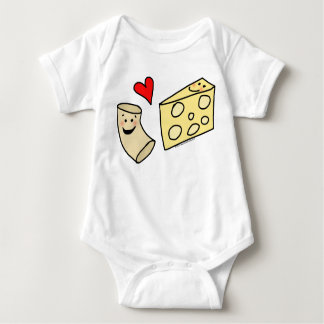 Mac Loves Cheese, Funny Cute Macaroni + Cheese Baby Bodysuit