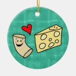 Mac Loves Cheese, Funny Cute Macaroni + Cheese Christmas Tree Ornament