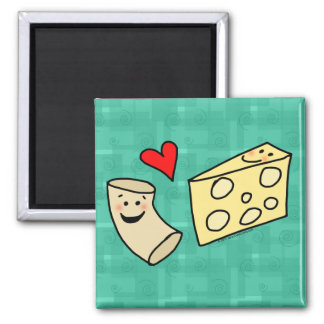 Mac Loves Cheese, Funny Cute Macaroni + Cheese Square Magnet