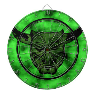 Macabre: Grinning Green Demon Dartboard With Darts