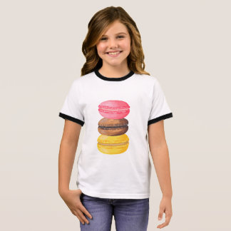 Macaron Illustration Sweets Watercolor Macaroons Ringer T-Shirt