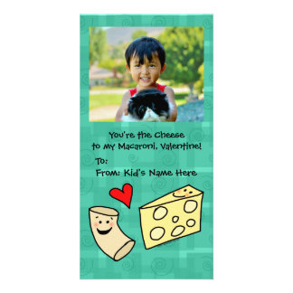 Macaroni Loves Cheese Cute Kids Valentine Customized Photo Card