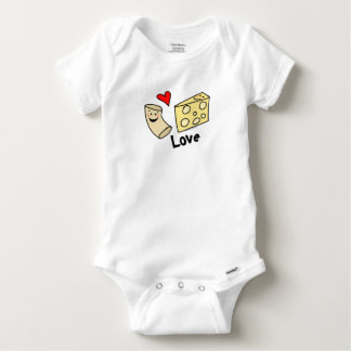 Macaroni Loves Cheese, Heart Girl/Boy Funny Cute Baby Onesie