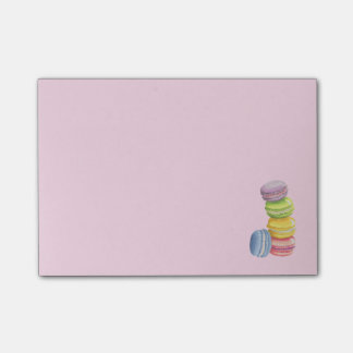 Macarons French Dessert in Pastel Watercolors Post-it Notes