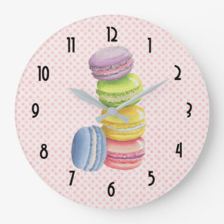 Macarons French Dessert Pastel Watercolors Large Clock
