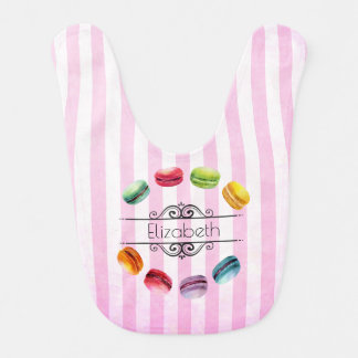 Macarons In A Circle | French Pastry in Watercolor Bib