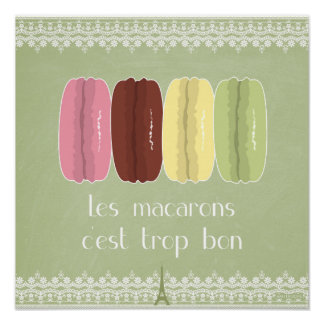 Macarons in Paris and Lace Poster