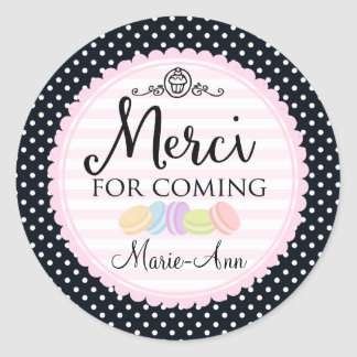 Macarons party thank you Merci 2inch circle Round Sticker