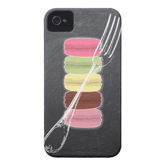MACARONS stylish FORKS on chalkboard iPhone 4 Cases
