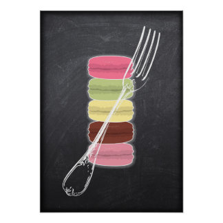MACARONS & stylish FORKS on chalkboard Poster