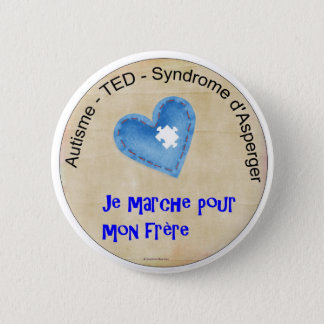 Macaroon I walk for my brother 6 Cm Round Badge