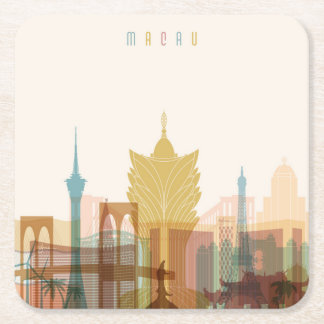 Macau, China | City Skyline Square Paper Coaster