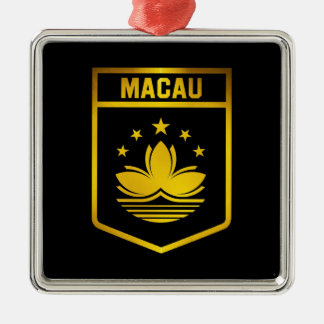 Macau Emblem Silver-Colored Square Decoration