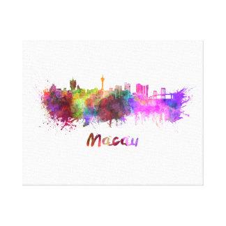 Macau skyline in watercolor canvas print