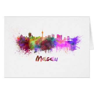 Macau skyline in watercolor card