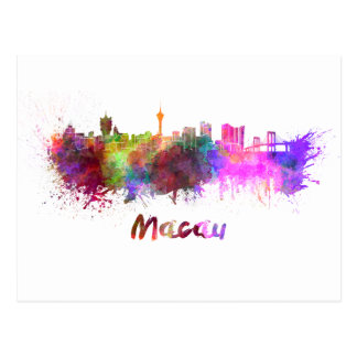 Macau skyline in watercolor postcard
