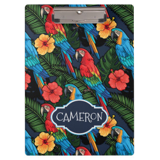 Macaw And Hibiscus Pattern | Add Your Name Clipboards