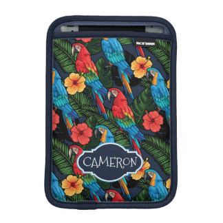 Macaw And Hibiscus Pattern | Add Your Name iPad Mini Sleeves