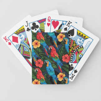 Macaw And Hibiscus Pattern Bicycle Playing Cards