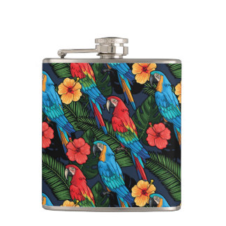 Macaw And Hibiscus Pattern Flasks
