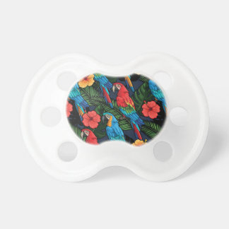 Macaw And Hibiscus Pattern Pacifiers