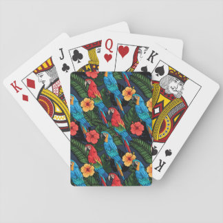 Macaw And Hibiscus Pattern Poker Deck