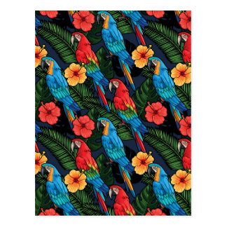 Macaw And Hibiscus Pattern Postcard