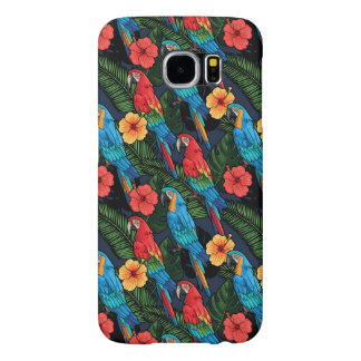 Macaw And Hibiscus Pattern Samsung Galaxy S6 Cases