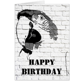 Macaw Graffiti Happy Birthday Card