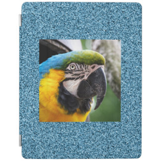 Macaw on teal faux glitter iPad smart cover