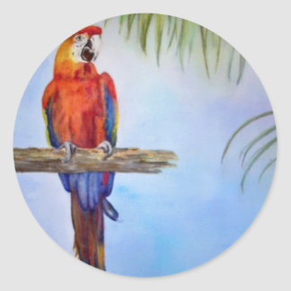 MACAW Parrot Bird Tropical Beach Theme Painting Classic Round Sticker