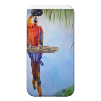MACAW Parrot Bird Tropical Beach Theme Painting iPhone 4 Covers