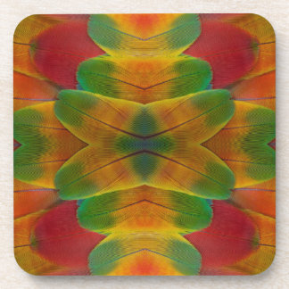 Macaw parrot feather kaleidoscope drink coaster