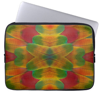 Macaw parrot feather kaleidoscope laptop sleeve