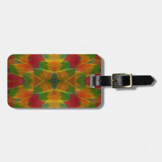 Macaw parrot feather kaleidoscope luggage tag